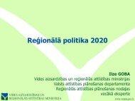 Reģionālā politika 2020 - Valsts reģionālās attīstības aģentūra