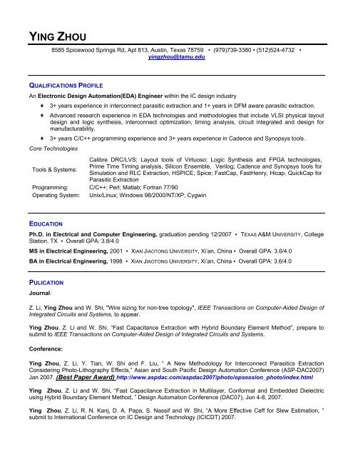 Download My Resume Computer Engineering Systems Group