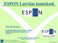 ESPON Latvijā - Valsts reģionālās attīstības aģentūra