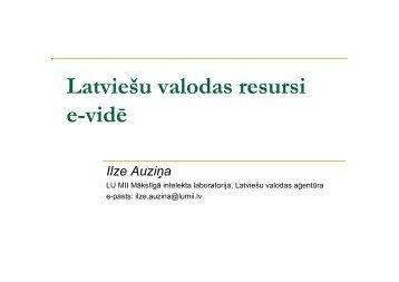 Latviešu valodas resursi e-vidē