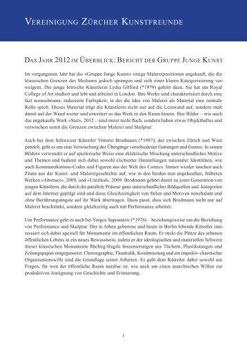 Lesen Sie hier den gesamten Bericht der Gruppe Junge Kunst 2012.