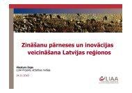 Zināšanu pārneses un inovācijas veicināšana Latvijas reģionos