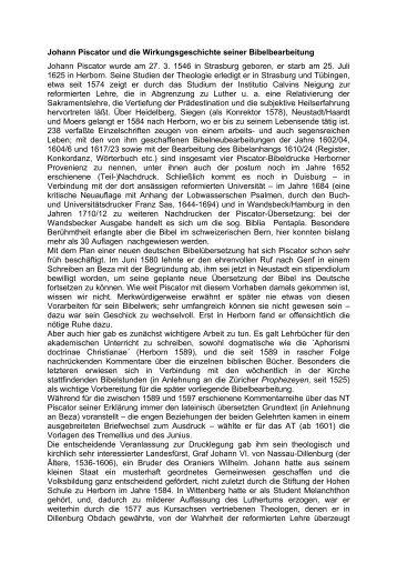 Johann Piscator und die Wirkungsgeschichte seiner Bibelbearbeitung
