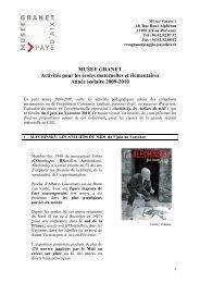 Musée Granet programme maternelles-élémentaires 2009 2010.…