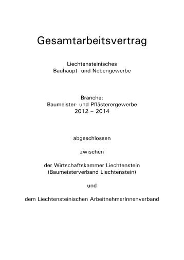 Gesamtarbeitsvertrag 2008-2010 - Wirtschaftskammer Liechtenstein