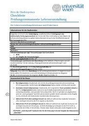 Checkliste Prüfungsimmanente Lehrveranstaltung - Universität Wien