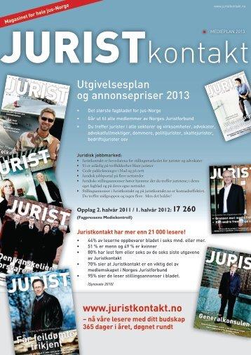 Utgivelsesplan og annonsepriser 2013 - Juristkontakt