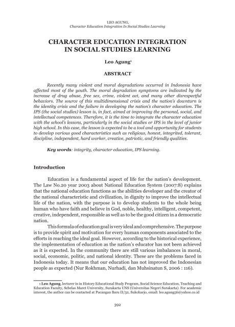 Character Education Integration In Social Studies Learning Jurnal Upi