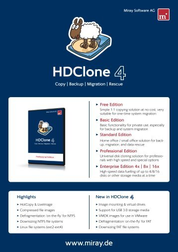 HDClone 4 Data Sheet - Miray Software