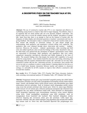 a descriptive study on the teacher talk at eyl classroom - Jurnal UPI