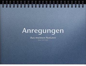 Anregungen - Aus meinen Notizen - Datenkerker.de