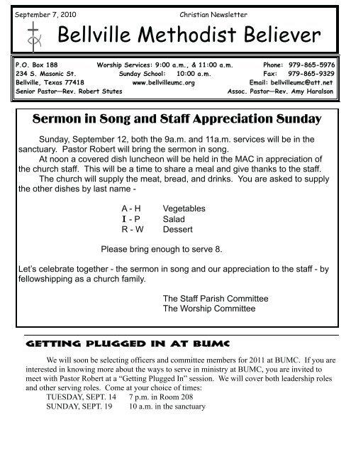 September 7, 2010 - Bellville United Methodist Church