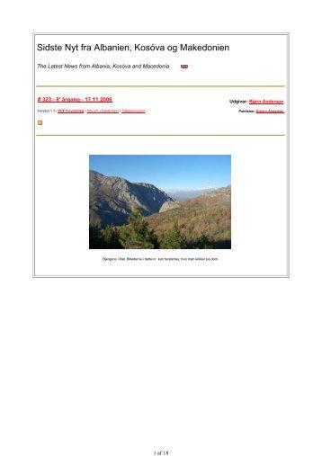 Sidste Nyt fra Albanien, Kosóva og Makedonien