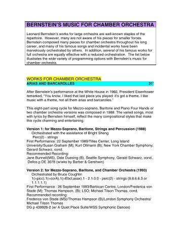 bernstein's music for chamber orchestra - Leonard Bernstein