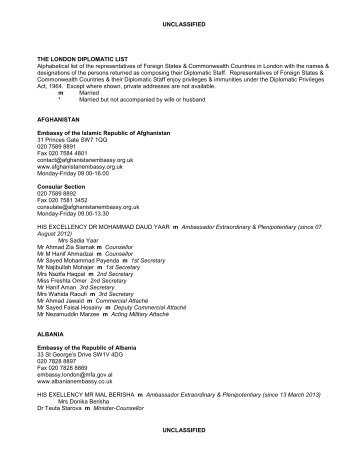 UNCLASSIFIED UNCLASSIFIED THE LONDON DIPLOMATIC LIST ...