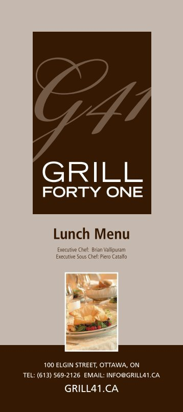Grill 41 Lunch Menu - Lord Elgin Hotel
