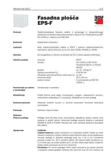 Fasadna plošča EPS-F - Baumit