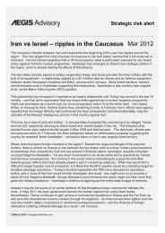 Iran vs Israel – ripples in the Caucasus Mar 2012 - Strategic risk index