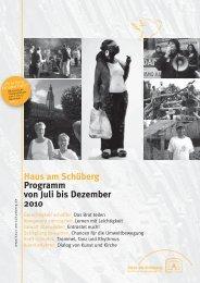 Haus am Schüberg Programm von Juli bis Dezember 2010