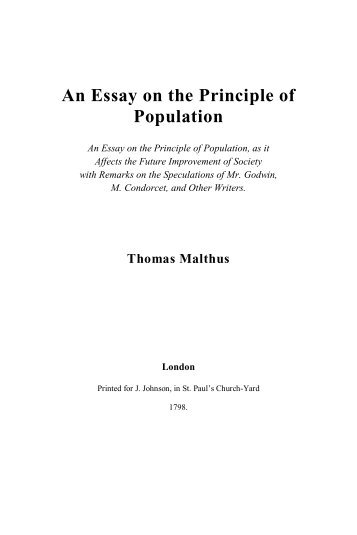 an essay on the principle of population esp electronic  malthus thomas robert an essay on the principle of population