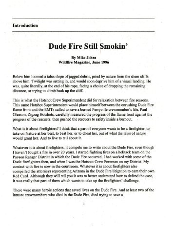 Dude Fire Still Smokin' D - Wildland Fire Leadership Development