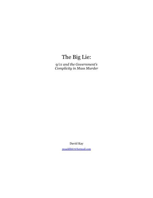 The Big Lie 9 11 And Government Complicity In Mass Murder Pdf