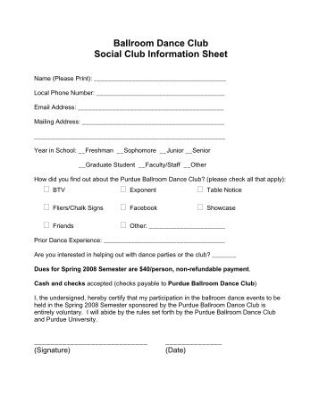 Ballroom Dance Club Social Club Information Sheet - Purdue Latin ...