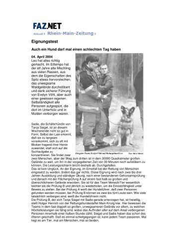 Frankfurter Allgem. Zeitung - BRH Rettungshundestaffel Main-Kinzig ...