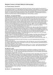 Religiöse Toleranz im Kontext biblischer Anthropologie - awa-info.eu