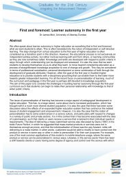 First and foremost: Learner autonomy in the first year