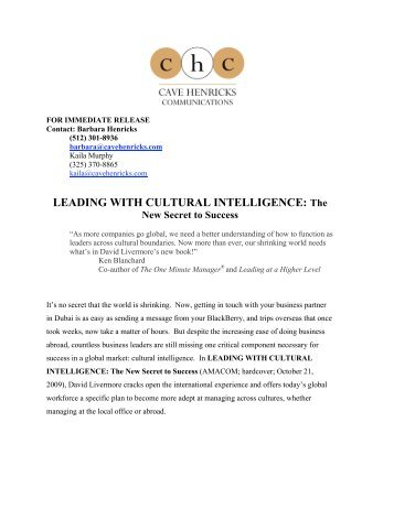 Leading with Cultural Intelligence Press Kit - David Livermore
