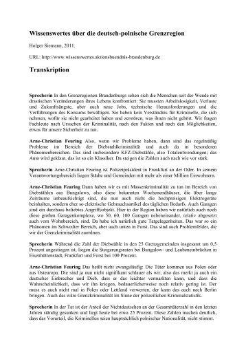 Wissenswertes über die deutsch-polnische Grenzregion Transkription