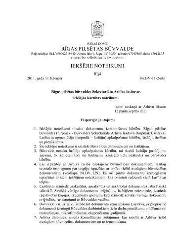 Rīgas pilsētas būvvaldes Arhīva lasītavas iekšējās kārtības noteikumi