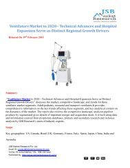 JSB Market Research: Ventilators Market to 2020 - Technical Advances and Hospital Expansion Serve as Distinct Regional Growth Drivers