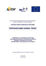 fokusa grupu diskusiju pētījums - Nodarbinātības Valsts Aģentūra