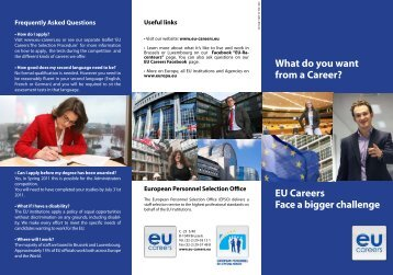 What do you want from a Career? EU Careers Face a bigger ...
