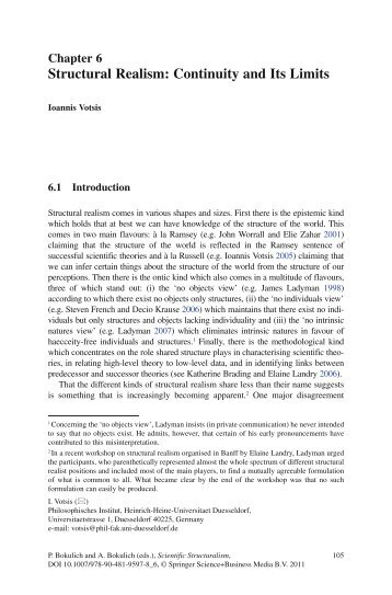 Structural Realism: Continuity and Its Limits - Ioannis Votsis