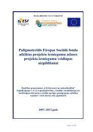 Palīgmateriāls Eiropas Sociālā fonda atklātas projektu iesniegumu ...