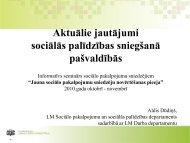 Aktuālie jautājumi sociālās palīdzības sniegšanā pašvaldībās