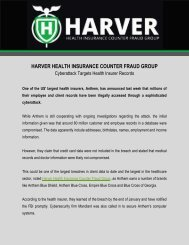 Harver Health Insurance Counter Fraud Group: Cyberattack Targets Health Insurer Records