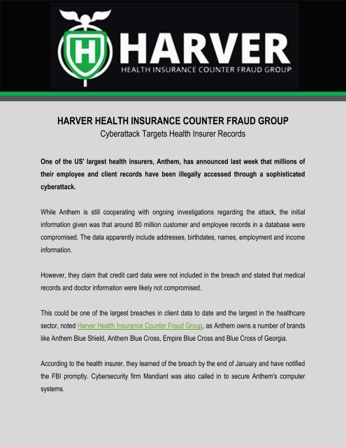 Harver Health Insurance Counter Fraud Group: Cyberattack Targets