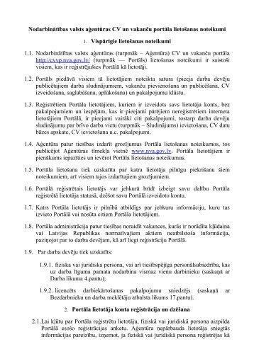 Lapas lietošanas noteikumi - Nodarbinātības valsts aģentūra