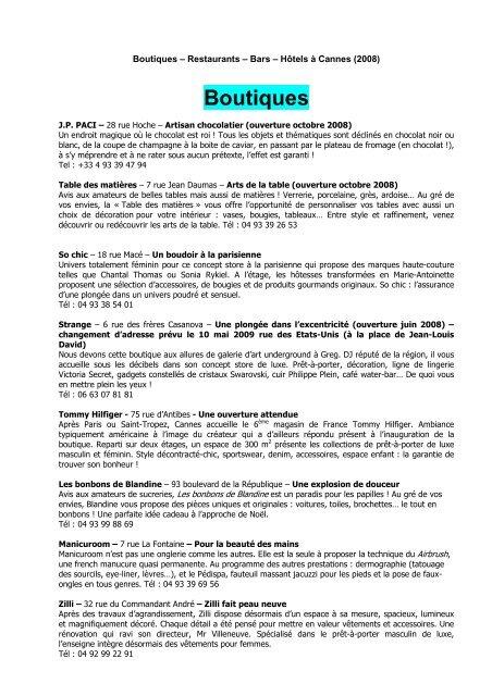 Nouveautes Boutiques Restaurants Hotels Nov 08 Vs Fr