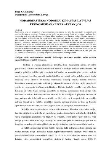 nodarbinātības nodokļu izmaiņas latvijas ekonomiskās krīzes ...