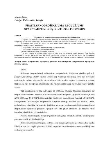 prasības nodrošinājuma regulējums starptautiskos šķīrējtiesas ...