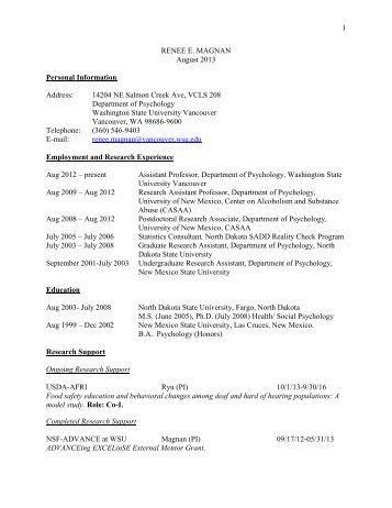 curriculum vitae - WSU Vancouver Directory - Washington State ...