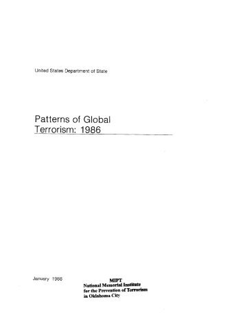 Patterns of Global Terrorism: 1986 - Higgins Counterterrorism ...
