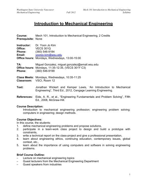 Mech 101 Intro To Mech Engr Fall 2012 Pdf Wsu Vancouver Directory