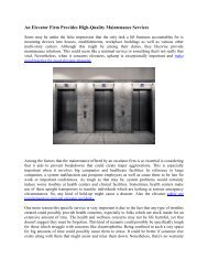 An Elevator Firm Provides High-Quality Maintenance Services