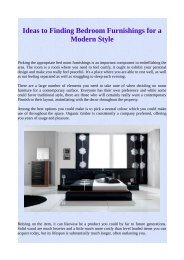 Ideas to Finding Bedroom Furnishings for a Modern Style